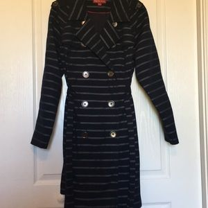 Merona Size L Navy Trench Coat